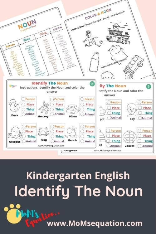 Identifying Nouns Worksheets A Free Booklet For K 1 2 Grade Mom Sequation