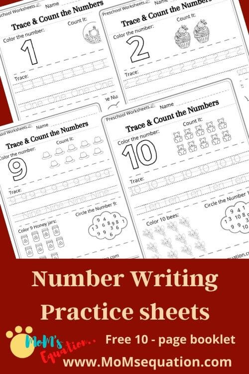 Number Writing Practice Sheets For Pre-k - Free Worksheet Booklet Pdf -  Mom'sEquation