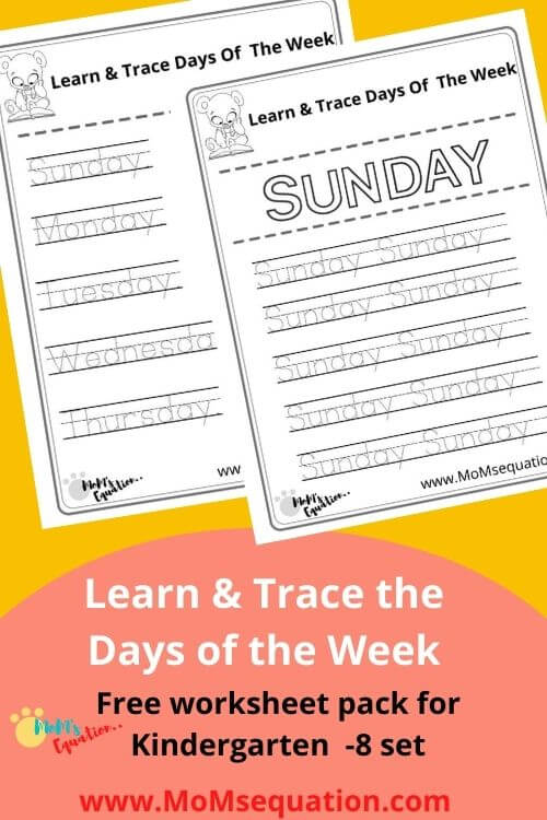 Days Of The Week Worksheets Pack - Tracing Is Fun!! - Mom'sEquation